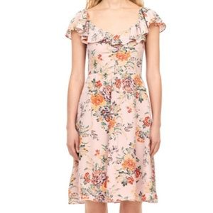 Rebecca Taylor Marlena Floral Silk Ruffle Dress
